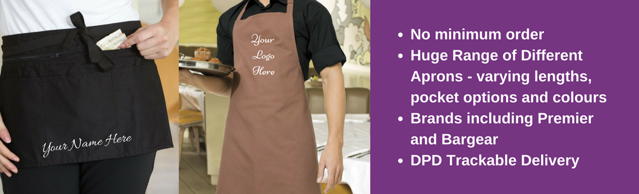 Embroided Personalised Aprons & Tabbards, No Minimum Order, Tackable