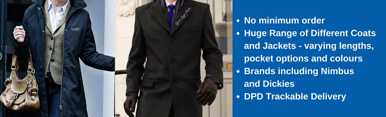 Embroided Personalised Coats & Jackets, No Minimum Order, Tackable