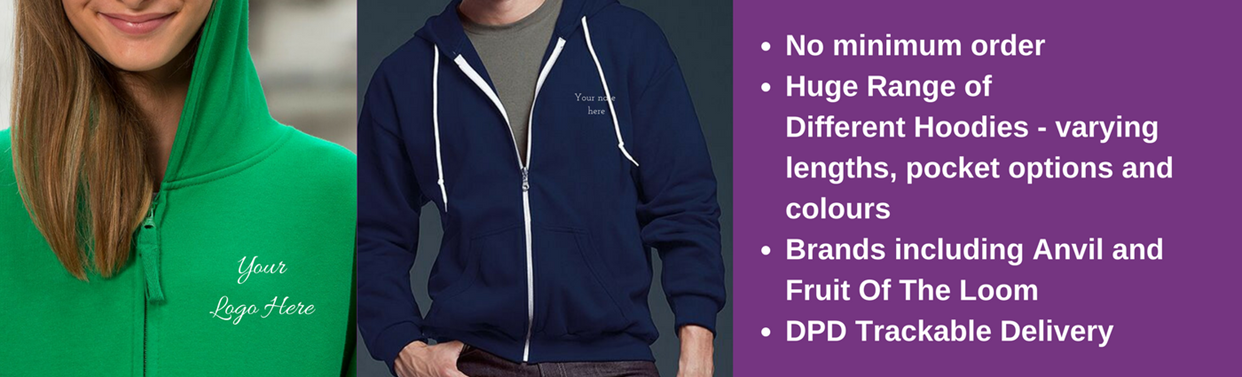 Embroided Personalised Hoodies, No Minimum Order, Tackable