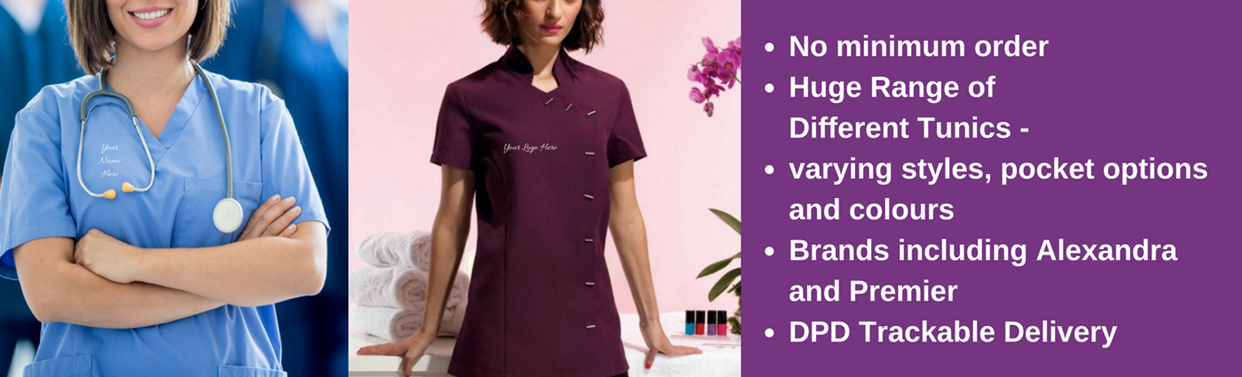 Embroided Personalised Tunics, No Minimum Order, Tackable