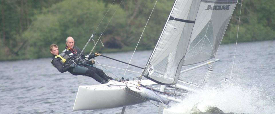 Peter Harrison Sailing His Catamaran