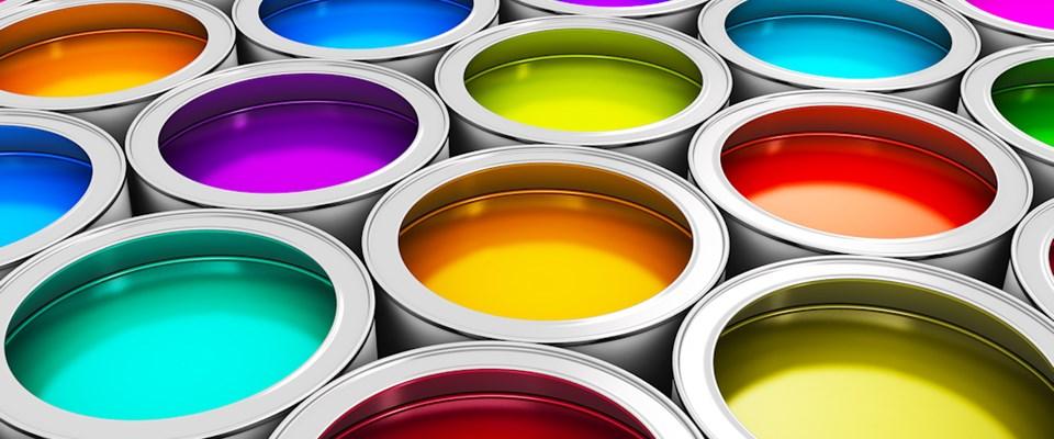 Metal Buckets of Coloured Ink