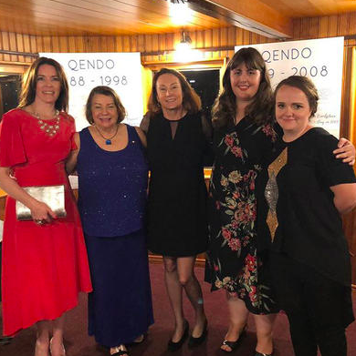 Jude at QENDO's 30th Anniversary Gala Dinner with current QENDO members Erin Clinton, Dannielle Stewart and Jaime White; and Dr Susan Evans.