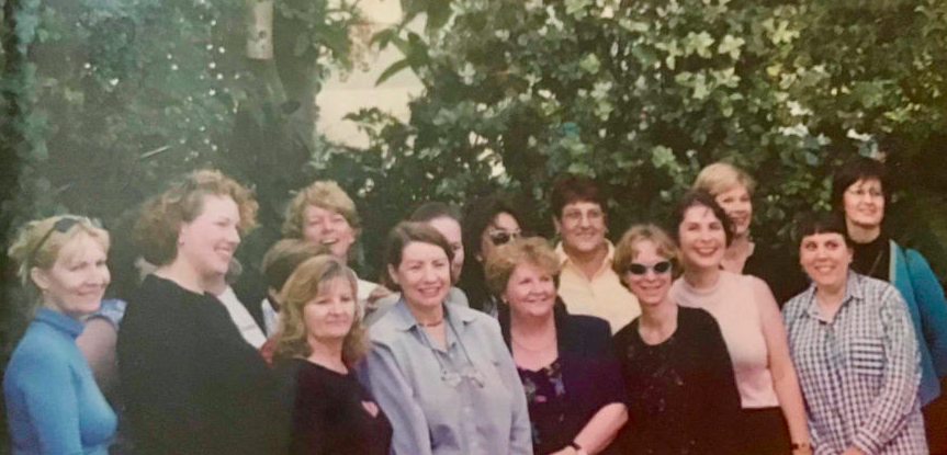 Jude (centre) with QENDO committee members past and present celebrating the announcement (2001).