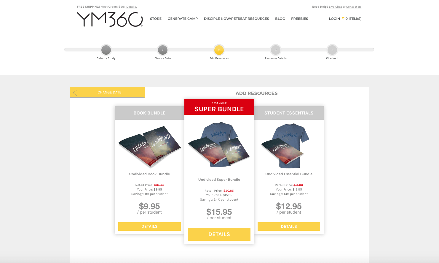 YM360 - Converted difficult form-based order form into beautiful multi-part custom product builder.AngularJS, Magento Integration, Design, Multi-Step Checkout