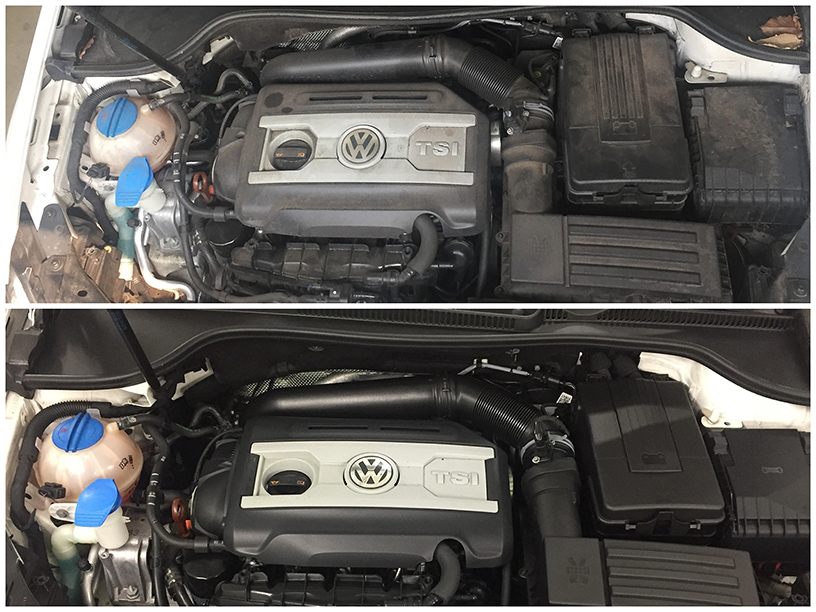 Before and after engine detailing; removing dirt grime and grease leaving it crisp clean and conditioned.