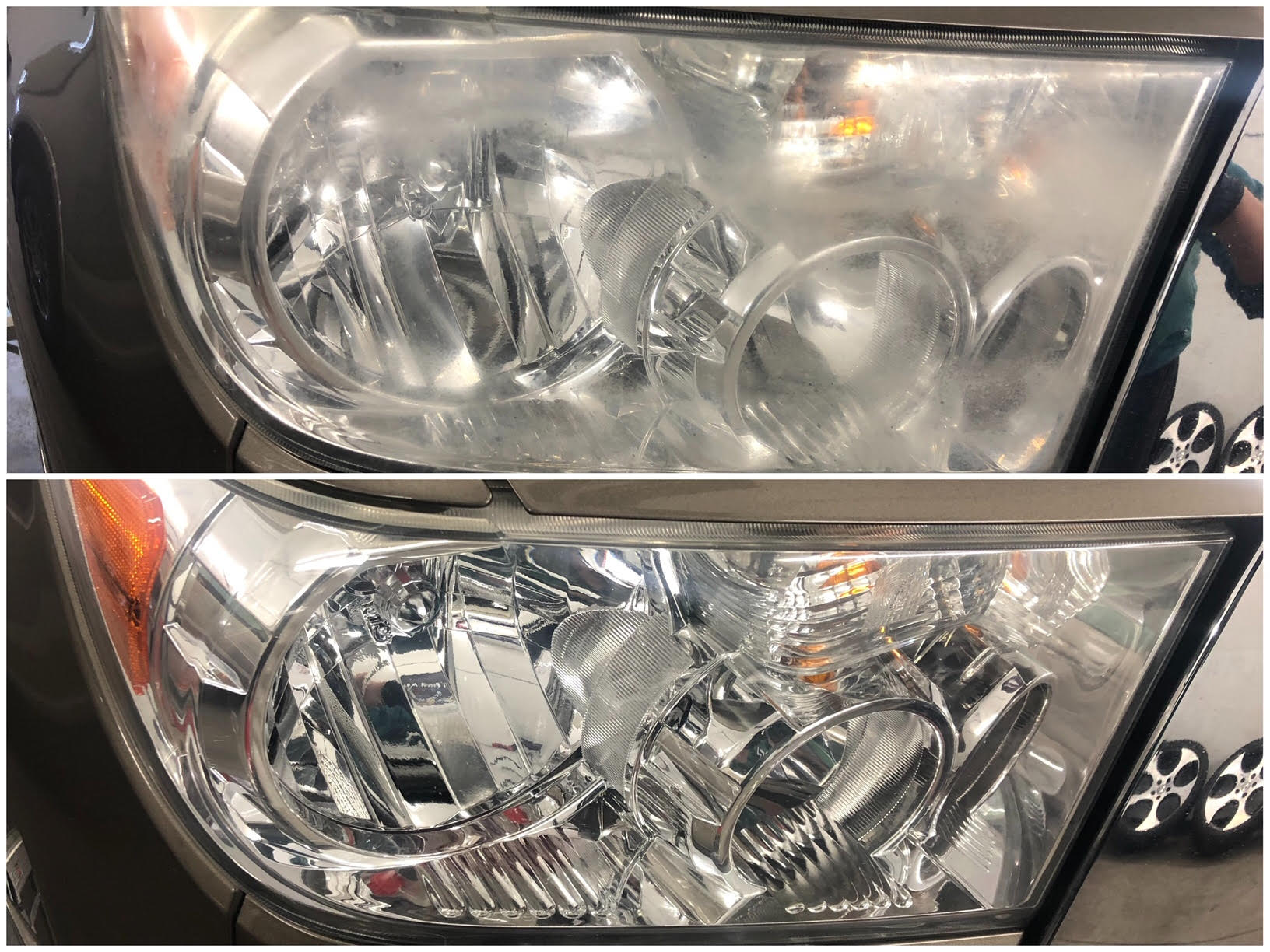 Headlight restoration; oxidized, hazy, dull and unclear lights restored to like-new condition and protected with our Shine Supply ceramic coating.