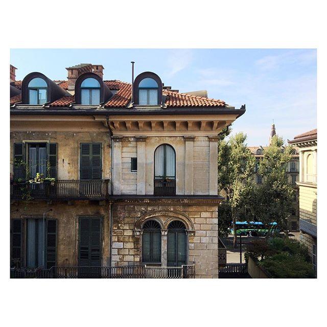 It's nice to wake up to new views. #Italy #Turin #balcony #oldbuilding #travel #vacation