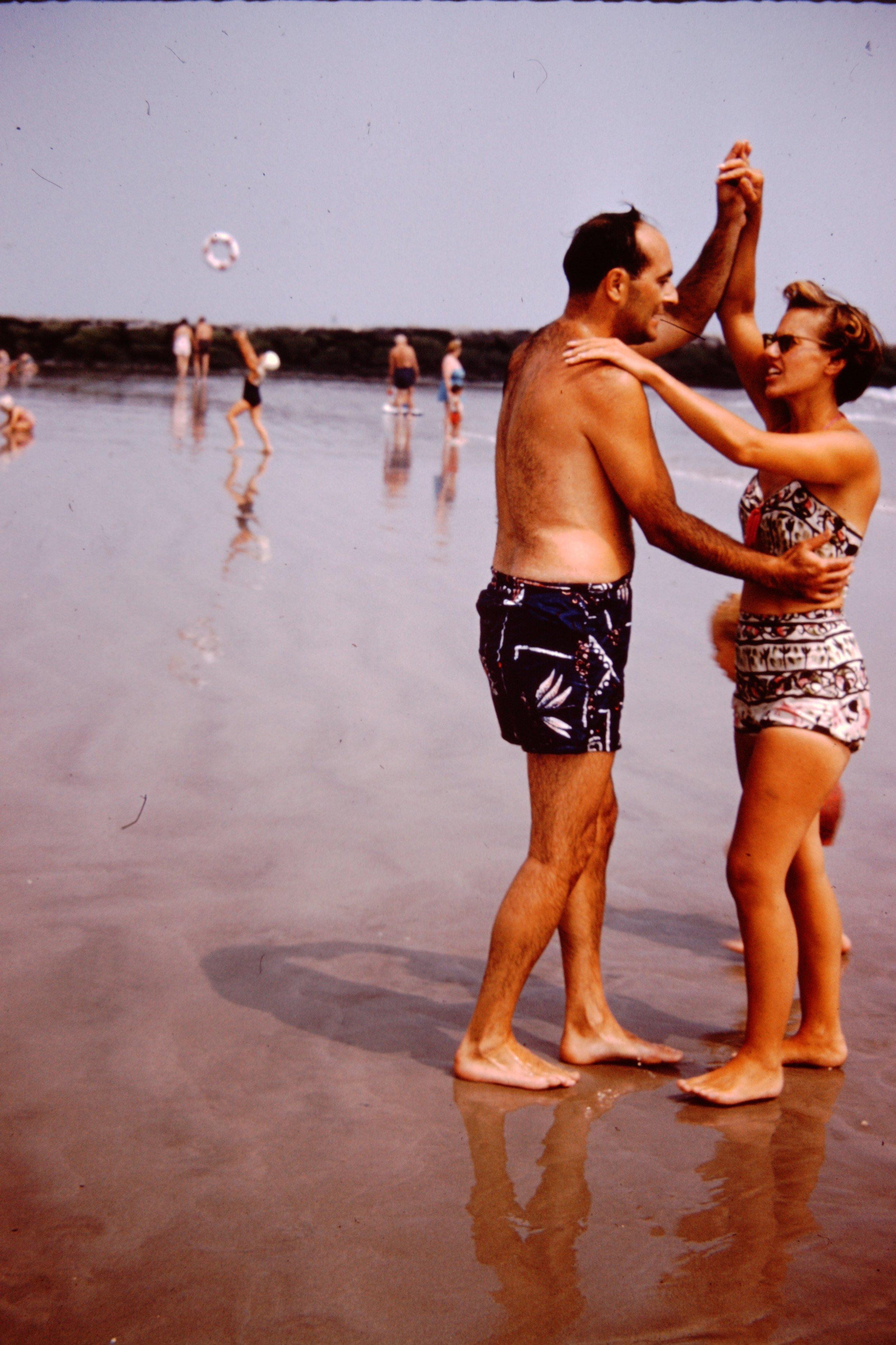 Joan and Eddie dance on beach.JPG