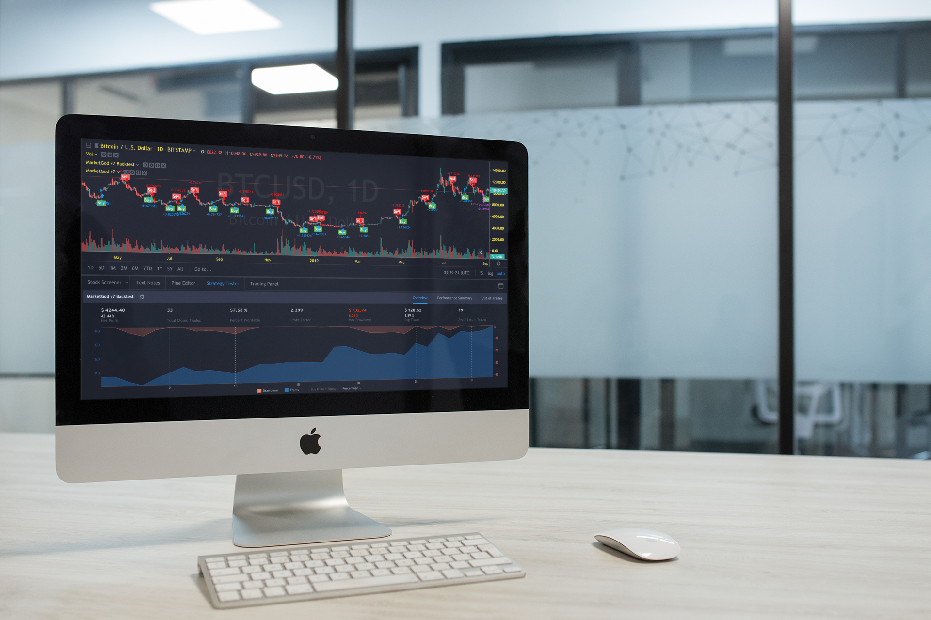The v7 Backtest Strategy  came with your MarketGod v7 Tradingview Indicator. You can use to test different filters, settings and more.