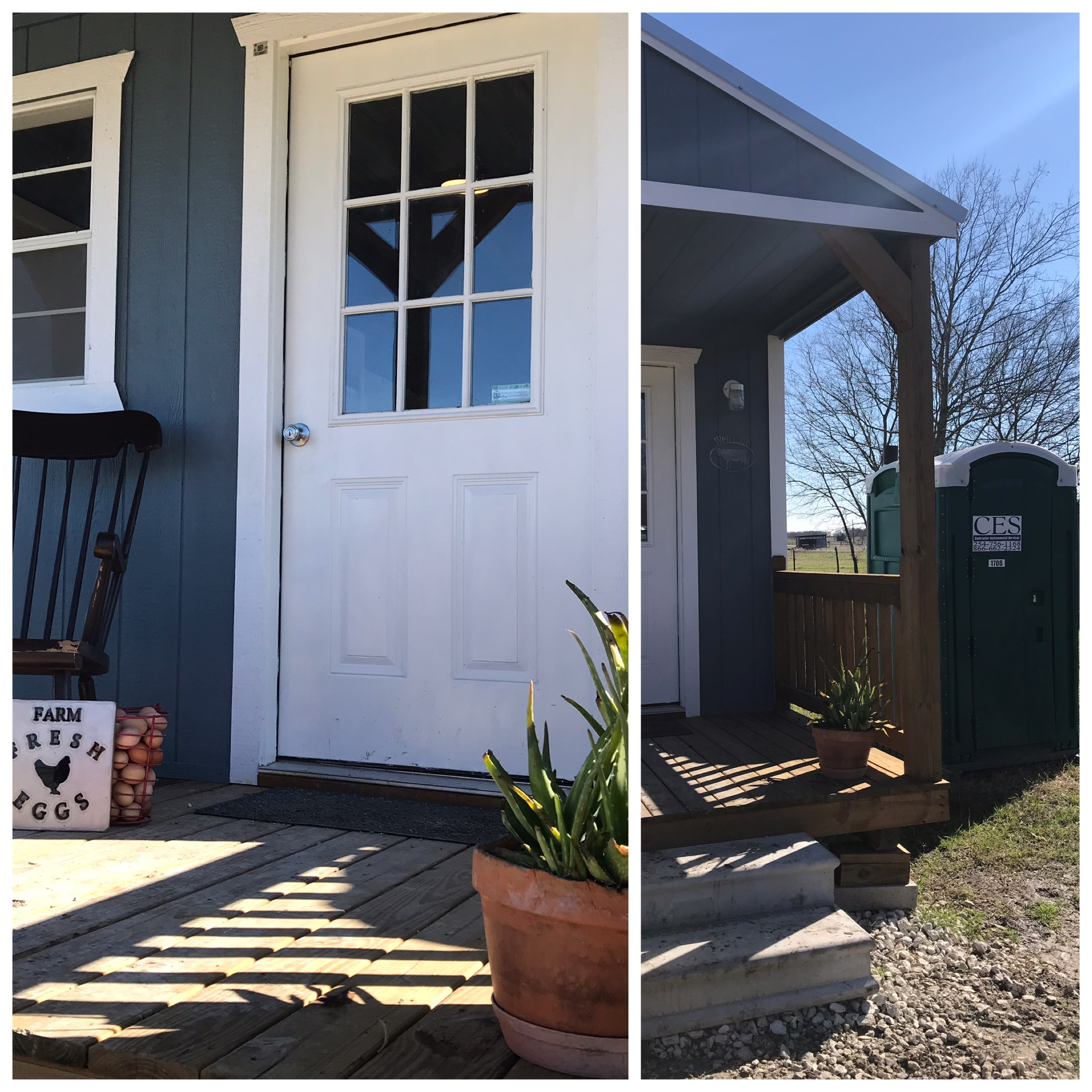 On the left - look at my instagram - perfect porch! but WAIT - really there's a PortaPotty in plain view when you drive up!