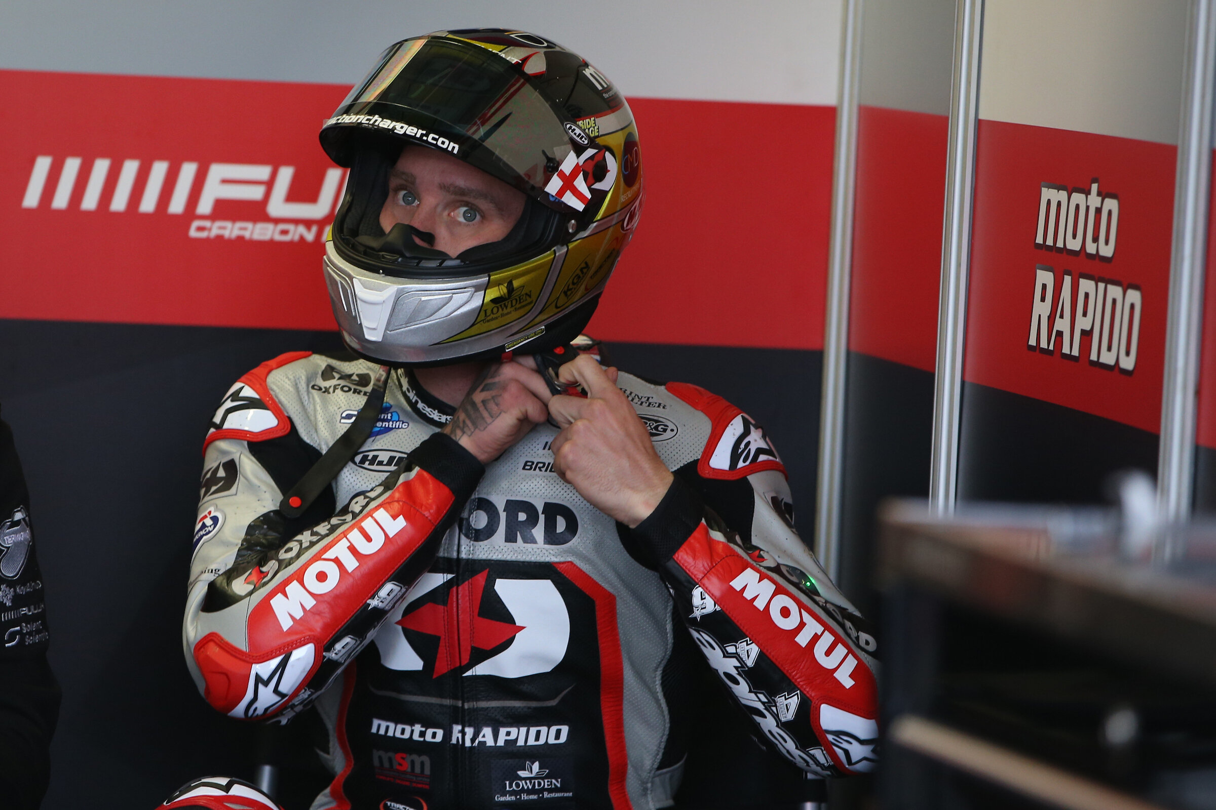 Tommy Bridewell gets ready to head out on track at Donington Park
