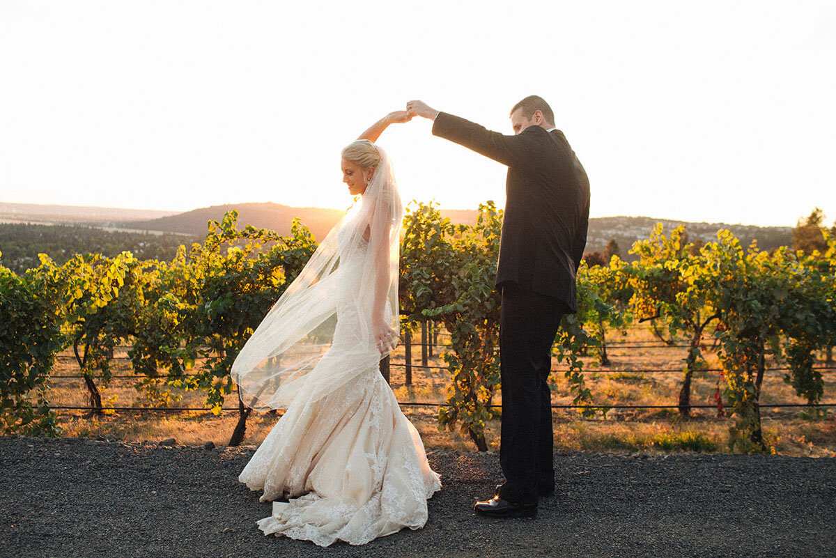 A photo of a bride and groom dancing in front of a vineyard