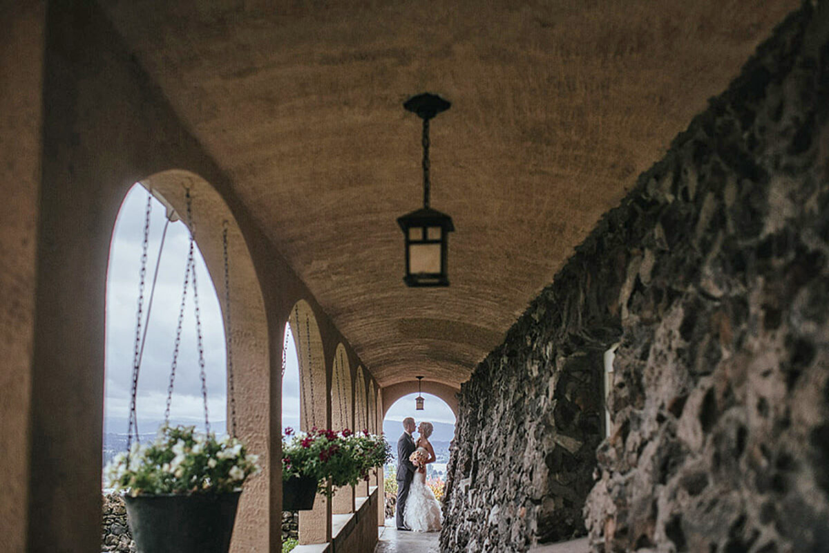A photo of a bride and groom at the Cliff House Estate