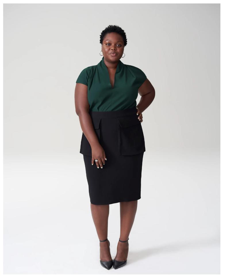 GREEN+BLACK-Robin Allen Segment-dark green blouse- black skirt.png