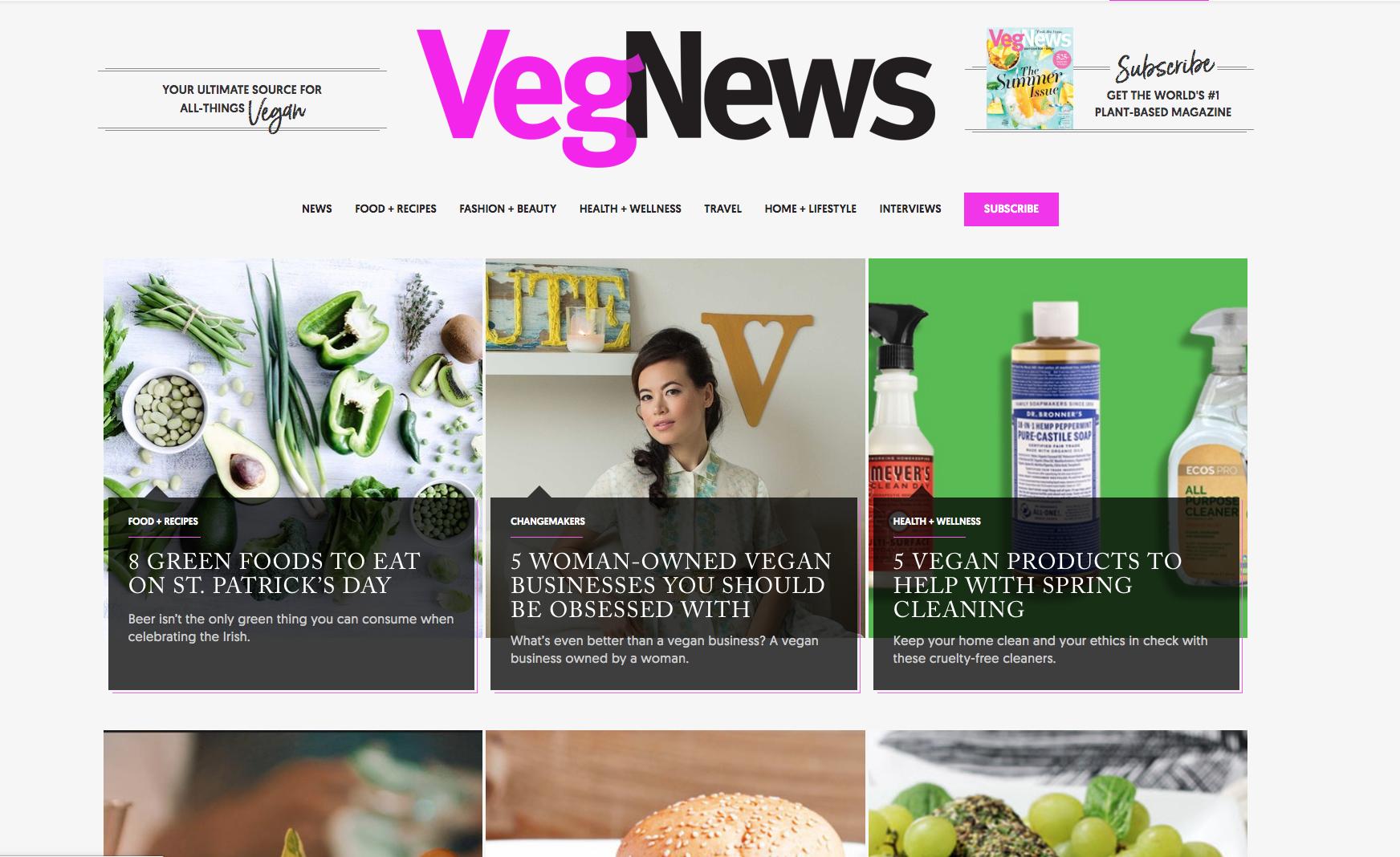 Various VegNews Articles — VegNews
