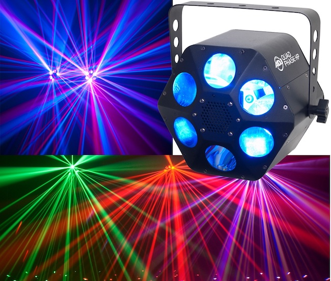 LED Lichteffekt Quad Phase - Erzeugt atemberaubende Lichtstrahlen mit Farbwechseln und ist in den Pauschalpaketen bereits inklusive !