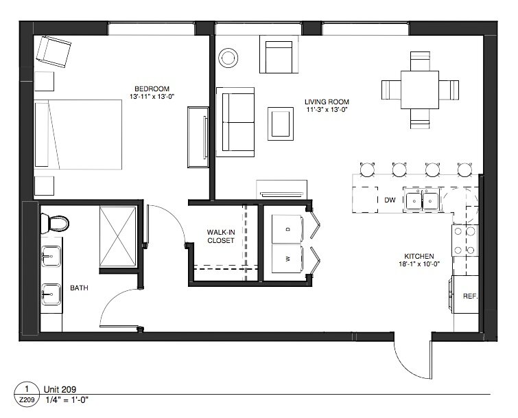 Click to see our unique one bedroom apartment home floor plans.