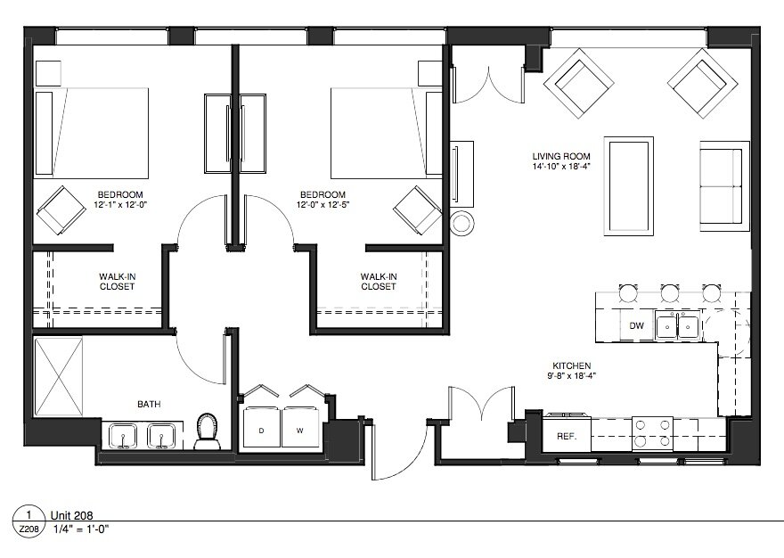 Click to see our unique two bedroom apartment home floor plans.