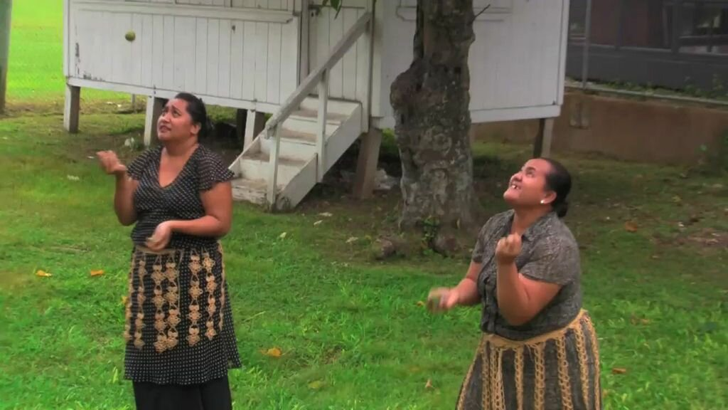 The Tongan Traditions office at the Palace in Nuku'alofa. This office was established by Queen Salote to keep the rich Tongan culture alive. The staff demonstrates that they too know how to Hiko…and learned this very young in schools and at home.