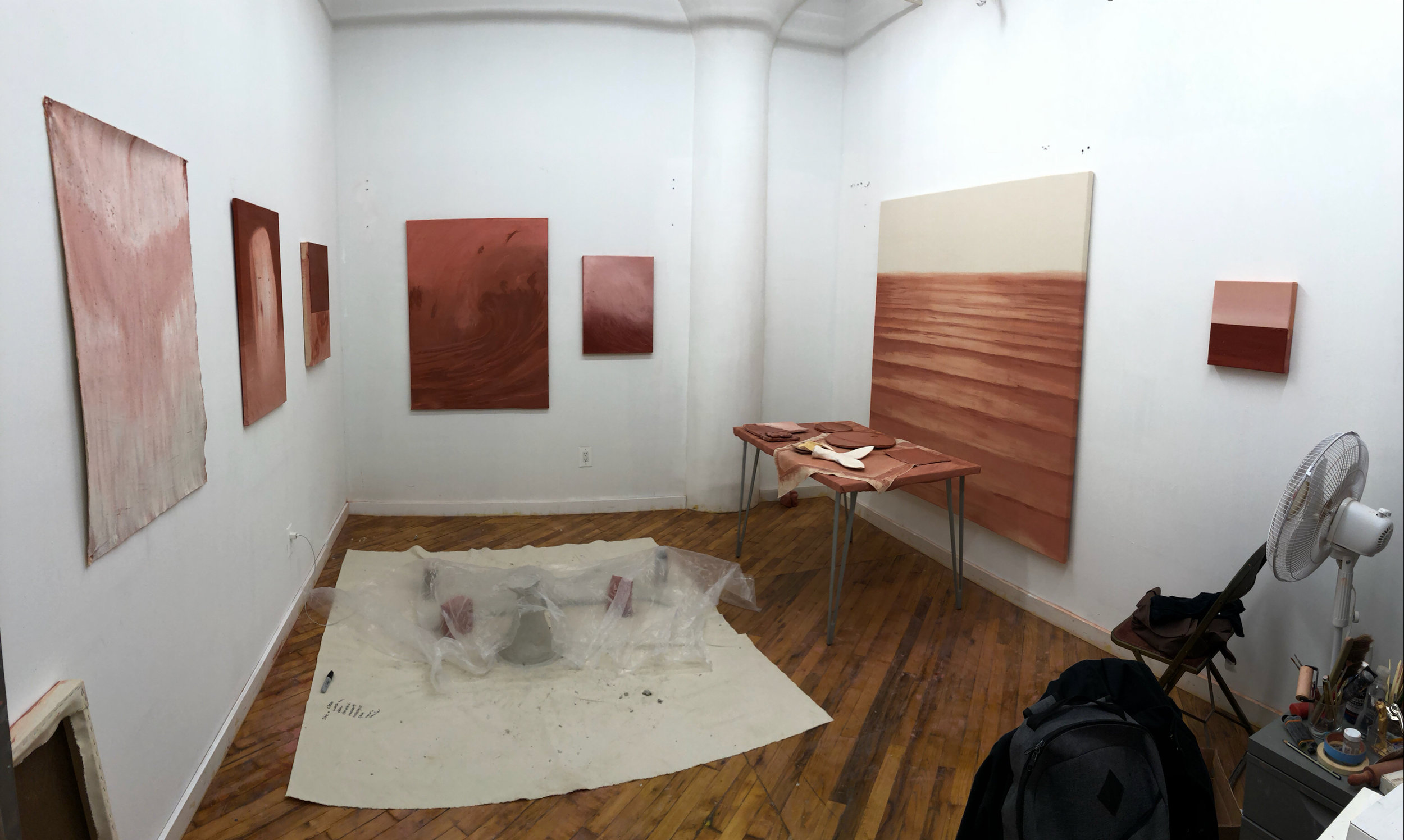 Studio view with WIP from August 2019