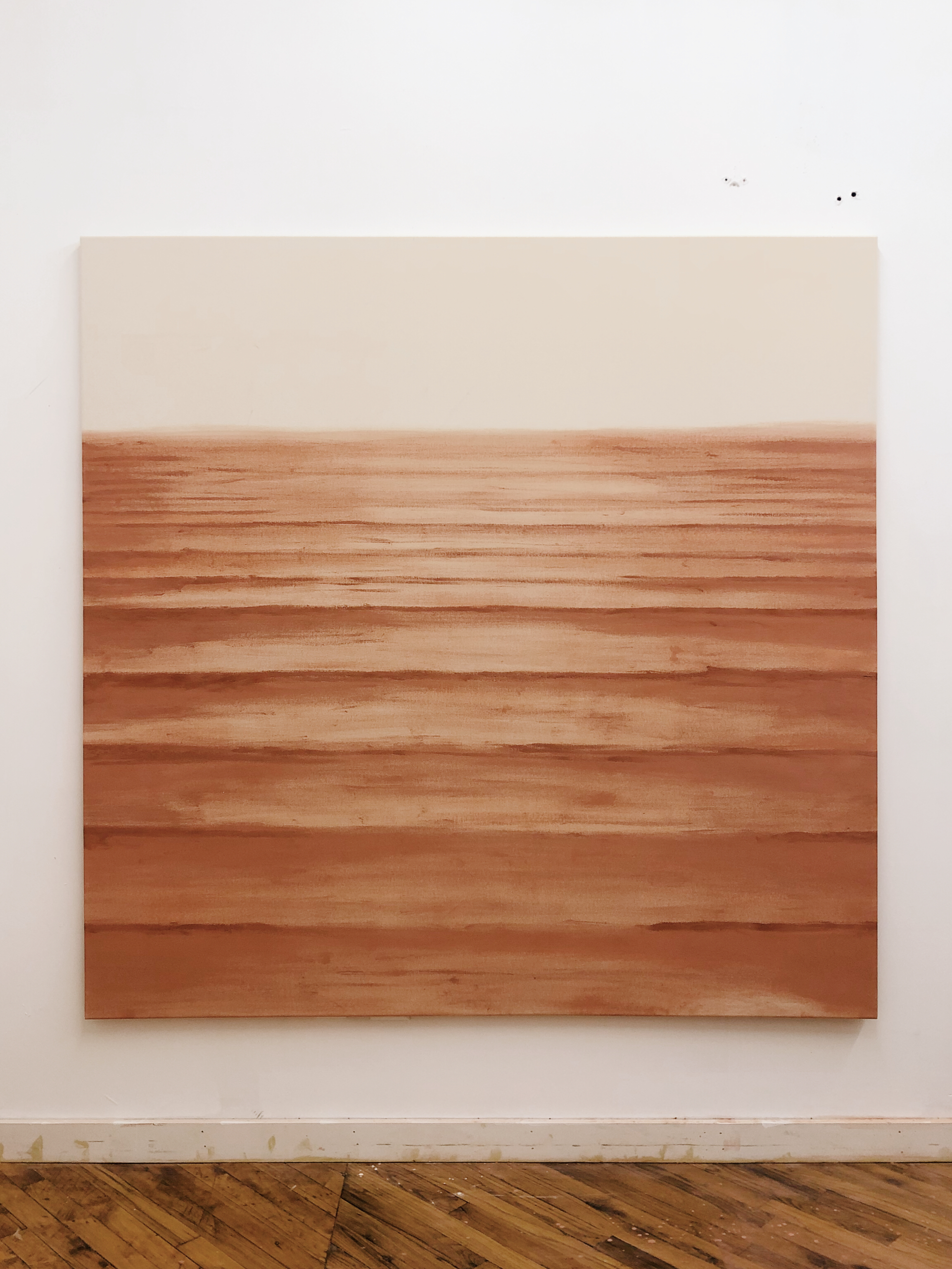 One   A White   Rooted in Spirit   Waves, 2018, clay on canvas, 6'x6'