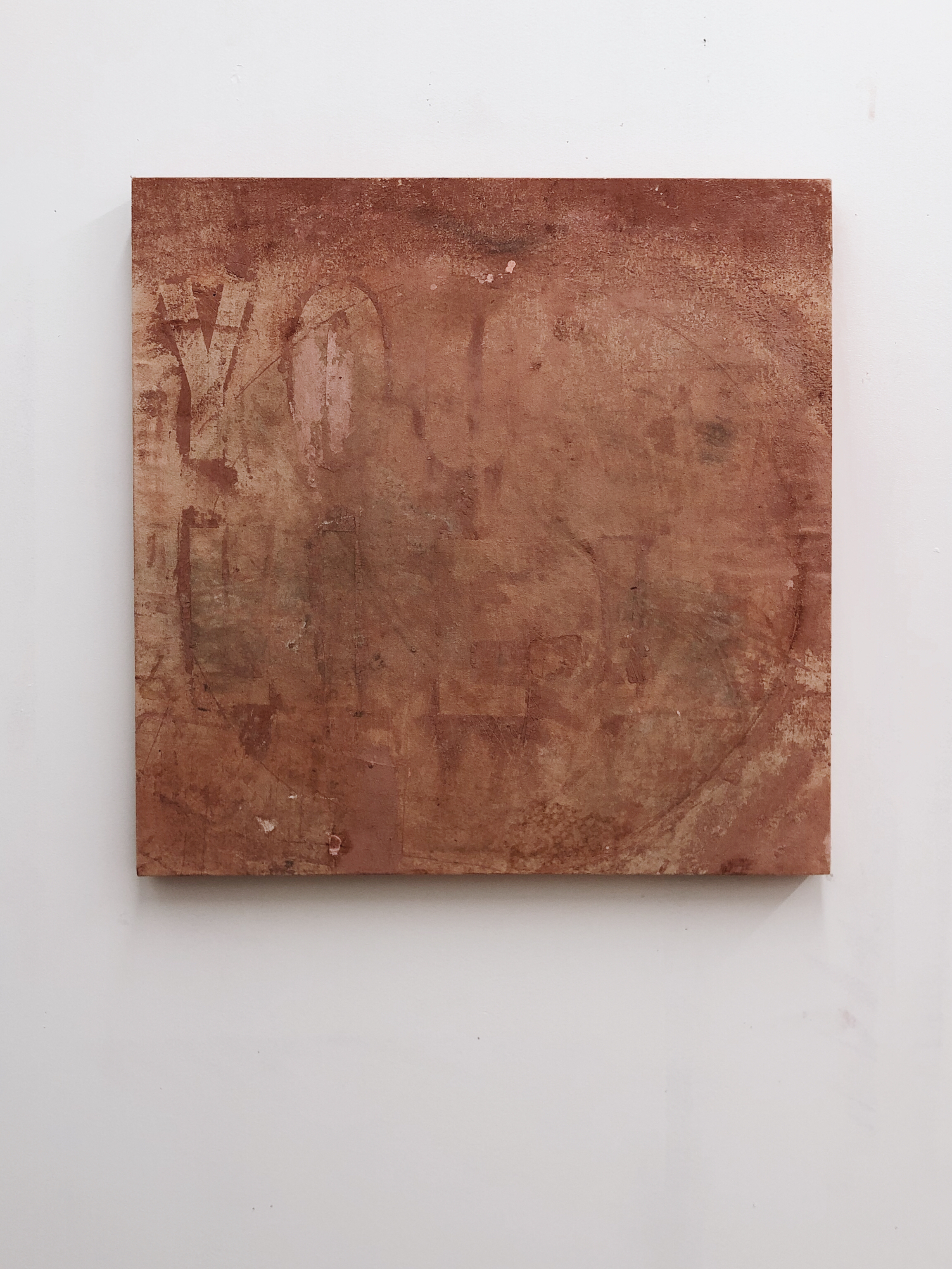 """One   A White   Rooted in Spirit   YOU LIE!, 2018, clay on canvas, 24""""x24"""""""