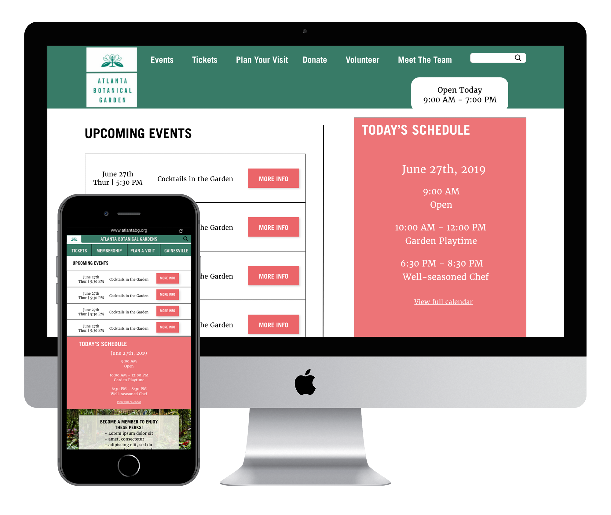 Atlanta Botanical Gardens Site Redesign - A 2-week group project to redesign the website for the gardens and make the site mobile responsive.