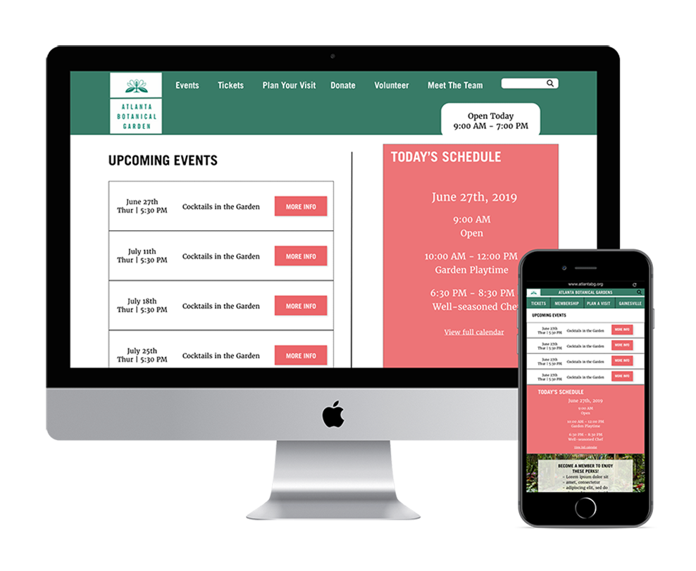 Atlanta Botanical Gardens Redesign - A project to redesign the website for the gardens and make the site mobile responsive.