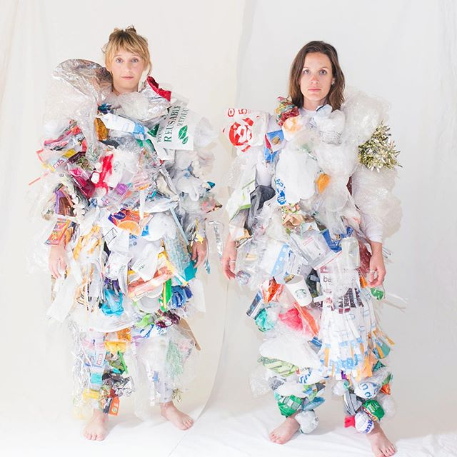 Trash suits made from single use plastics for a performance at Artist's Television Access Gallery in San Francisco.  #performanceart #plasticpollution #environmentalart #plasticart #sustainability #zerowaste