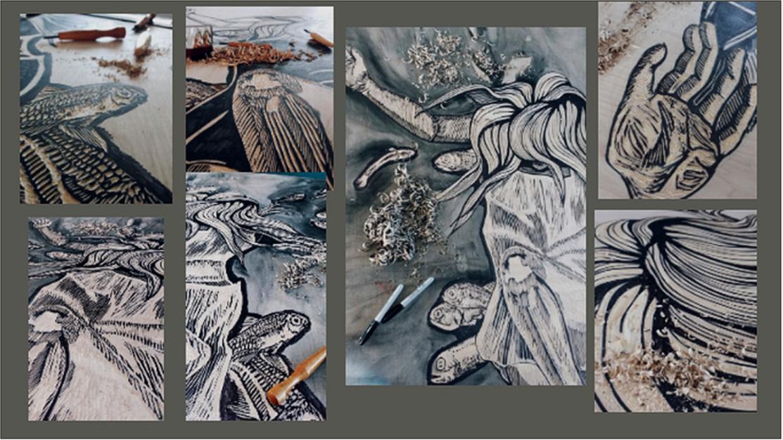 2nd panel in progress detail shots