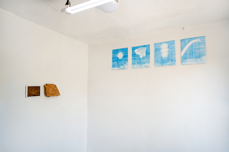 Signals (right) installation view with work from  Hannah Newman  (left) at Outback Arthouse in Los Angeles, CA