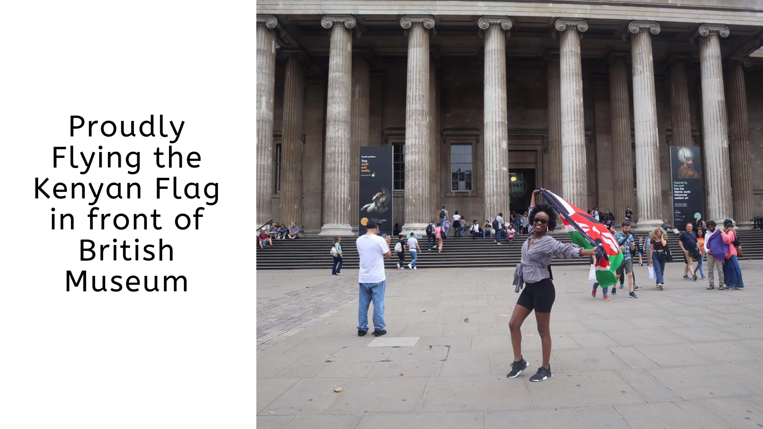Flying the Kenyan Flag proudly infront of British Museum.png