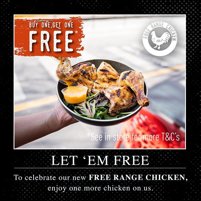 WE HAVE GONE FREE RANGE!⁣ ⁣ 🐔Buy 1 Get 1 Free for 1/4, 1/2 & Whole Chickens.⁣ 🗓️ All-Day Tuesday 27th August 2019 ⁣ 📖See Full Terms and Conditions*⁣ .⁣ .⁣ .⁣ ⁣ #freerange #letemfree #melbourneeats #foodie #foodporn #melbournelife #food #instafood #melbournecafe #melbournerestaurant #zomatoaus #zomatomelb #melbournecity #melbournefoodblogger #melbournefoodies #foodblogger #foodstagram #melbourneiloveyou #delicious #ubereats #melbournefoodscene #lunch #australia #melbournetodo #foodgasm #eatmelbourne ⁣ #melbmoment #whatsonmelb