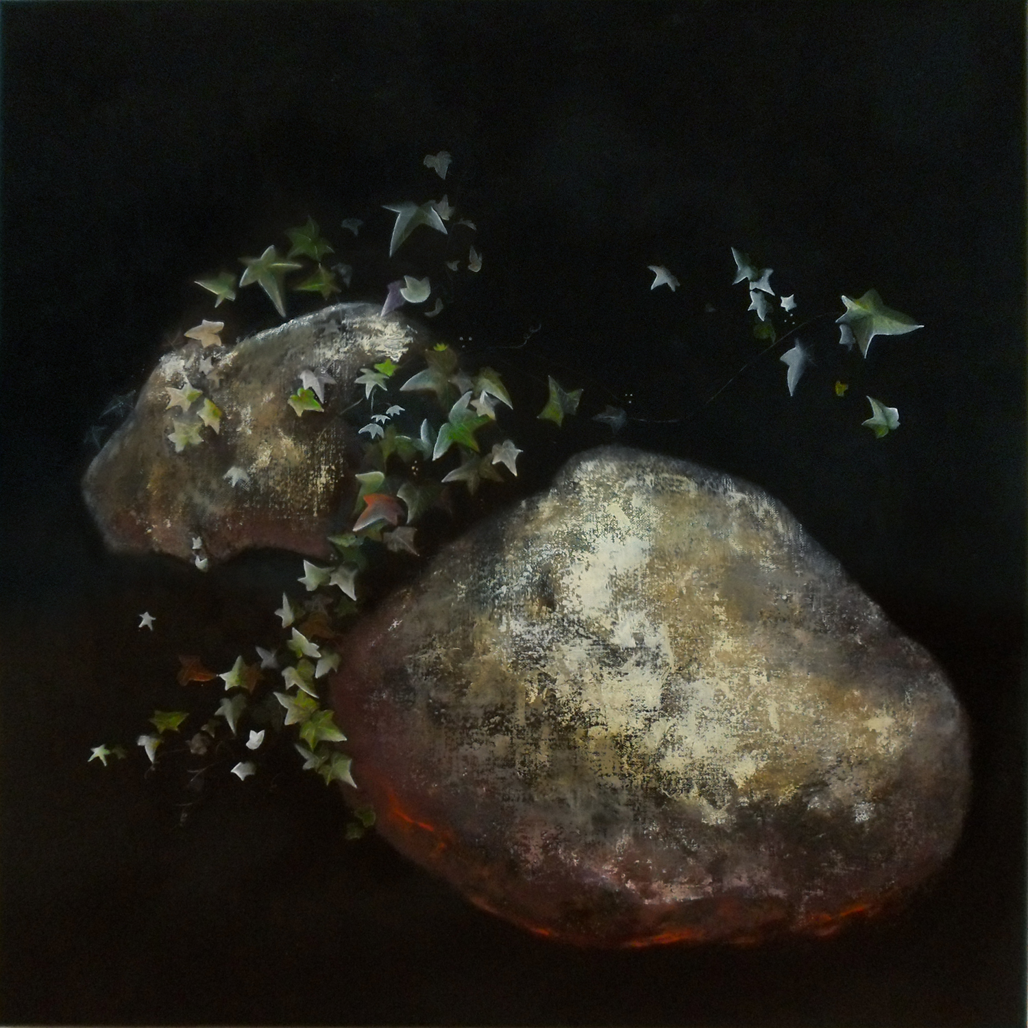 Penelope Aitken, Ivy, remembering violets, 2011, oil and acrylic on linen, 47 x 47 cm