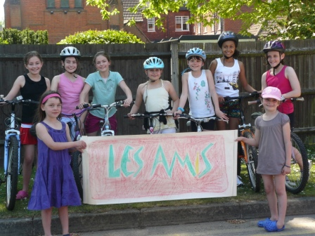 St Edmund's Cyclists - Thank you to Rosie, Sophie, Millie, Nina, Lauren, Hannah and Beth (of St Edmund's Catholic Primary School in Godalming) who undertook a sponsored cycle ride to raise money for Les Amis.  Between them they managed to cycle 60 miles and in the process raise £500.
