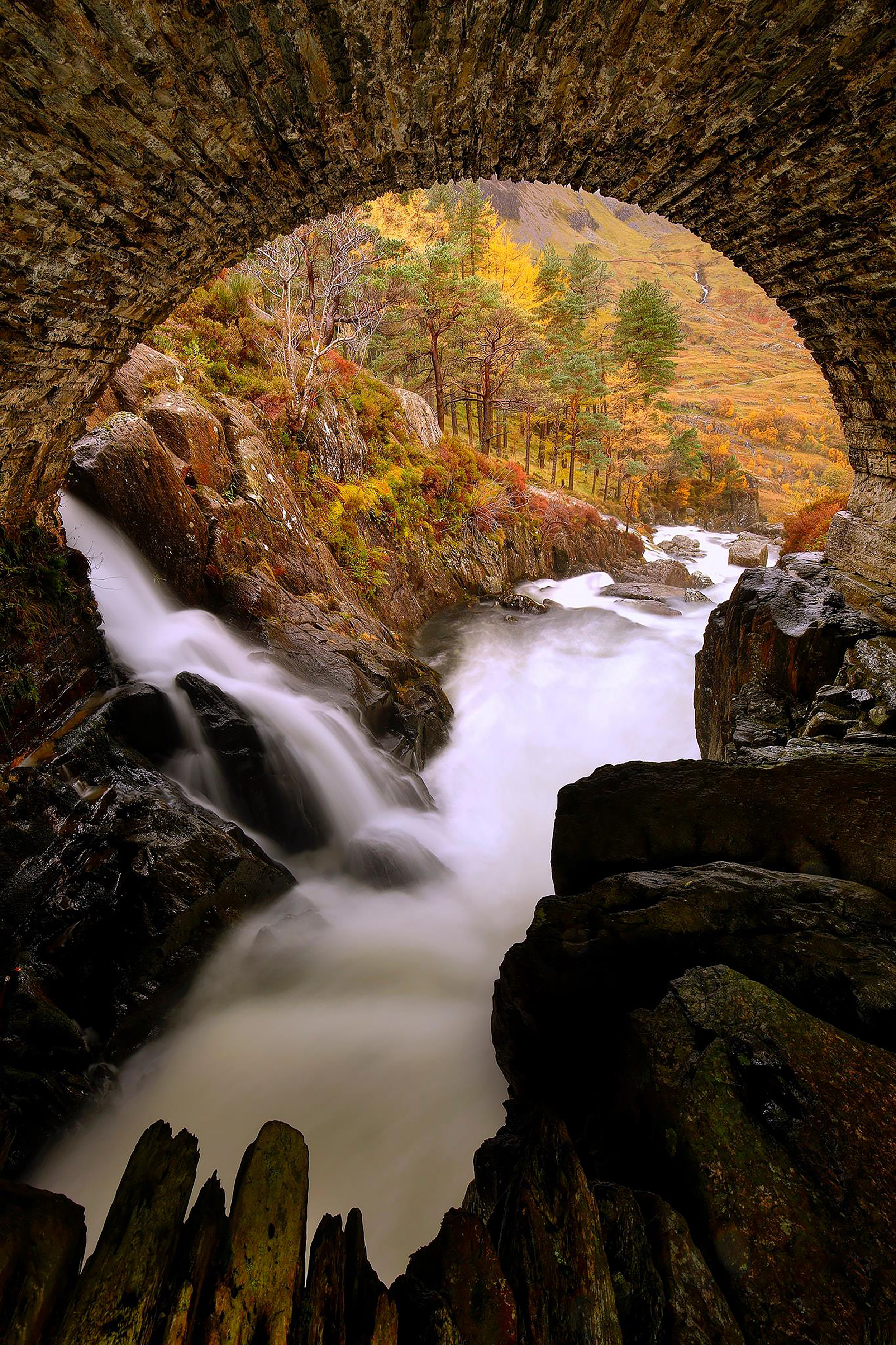Ogwen Valley Bridge Waterfall Snowdonia Wales