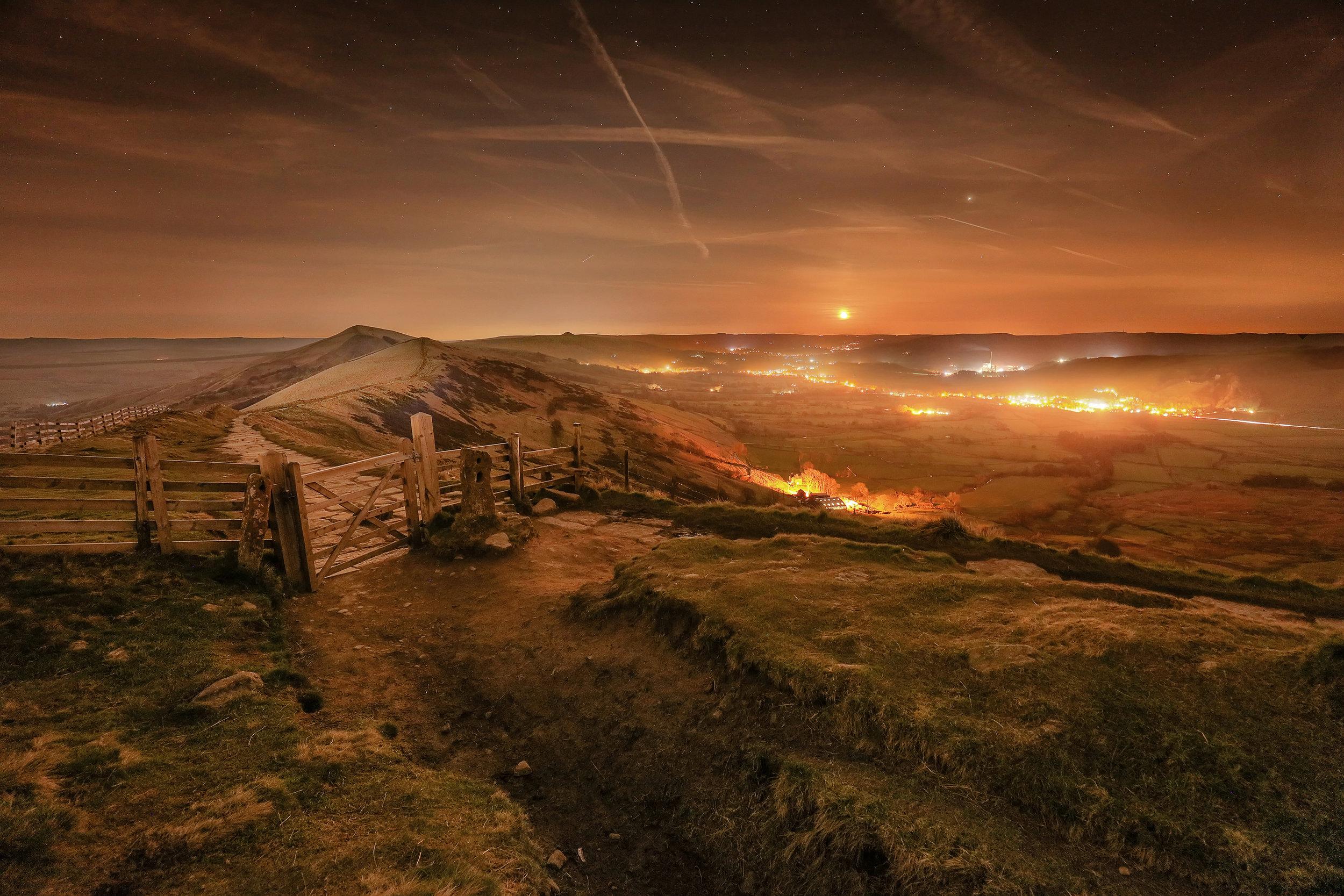 Mam Tor Blood Moon Castleton Peak District Landscape Photography