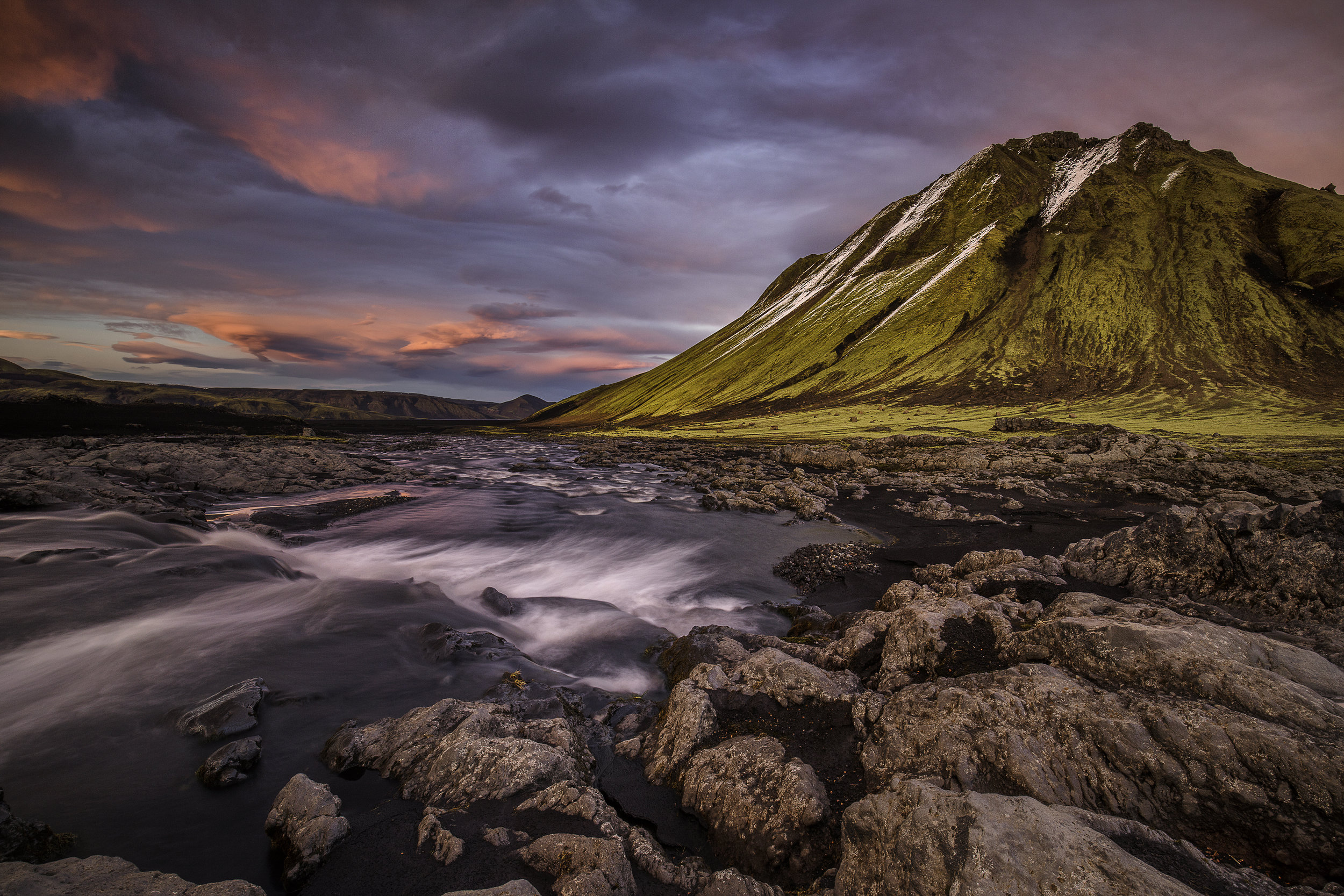 The Green Mountain sunset Iceland