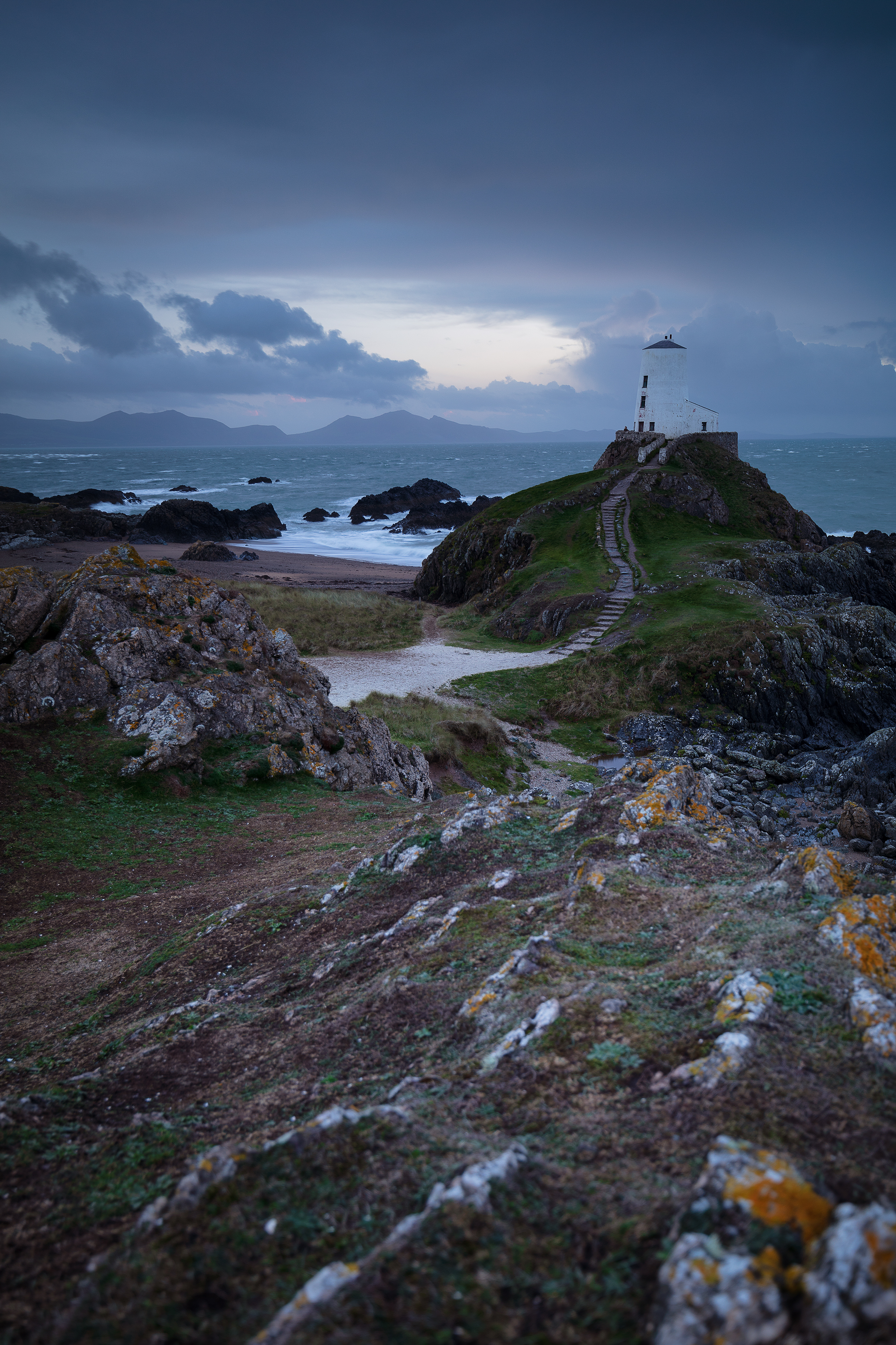 Llandwyn Island Lighthouse Blue Hour Anglesey Wales