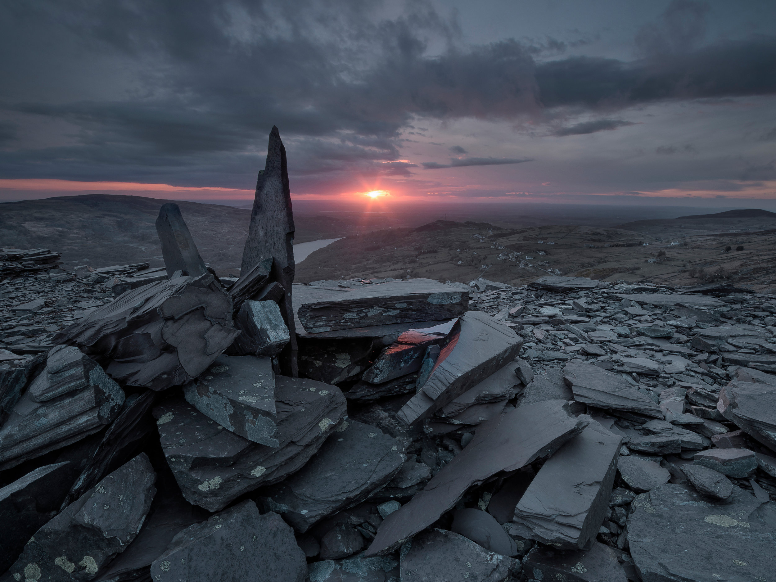 Dinorwic Slate Mine Quarry Sunset Snowdonia Wales