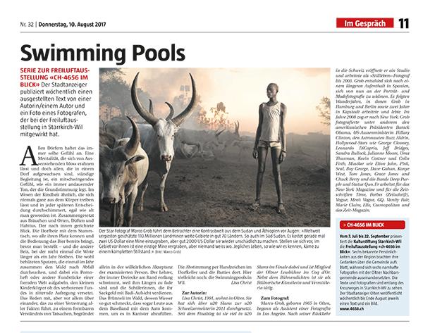 Swimming Pools - Allen Dörfern haftet das immer selbe Gefühl an. Eine Mentalität, die sich von Aussenstehenden bloss erahnen lässt und doch allen, die in einem Dorf aufgewachsen sind, ständige Begleitung ist, ein mitschwingendes Gefühl, wie ein immer andauernder Ton, der die Grundstimmung legt. Dieser Beitrag ist geschrieben von Lisa Christ und mit Fotografien von Marco Grob.