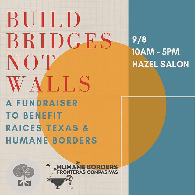 Hey y'all, we're trying to raise some funds for Raices and Humane Borders (more info in the link in bio). We've got hair, skin and sugar services, chair massage, cocktails, baked goods and more. Join us September 8th from 10-5 for good times and good causes! @taproot.neuro providing massages, @voodoosidecar providing custom cocktails, we're providing great hair. More info to come! P.S. thanks Lindsay for the idea and @dzandone for the graffix!