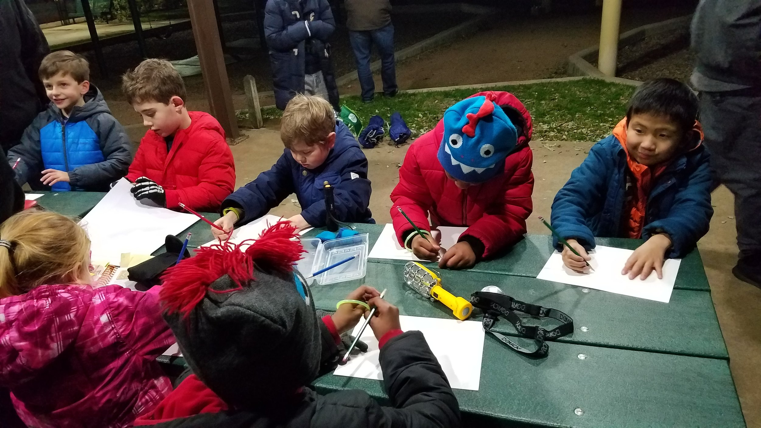 Tiger Scouts meet the night of a lunar eclipse to earn the Sky Is The Limit elective.