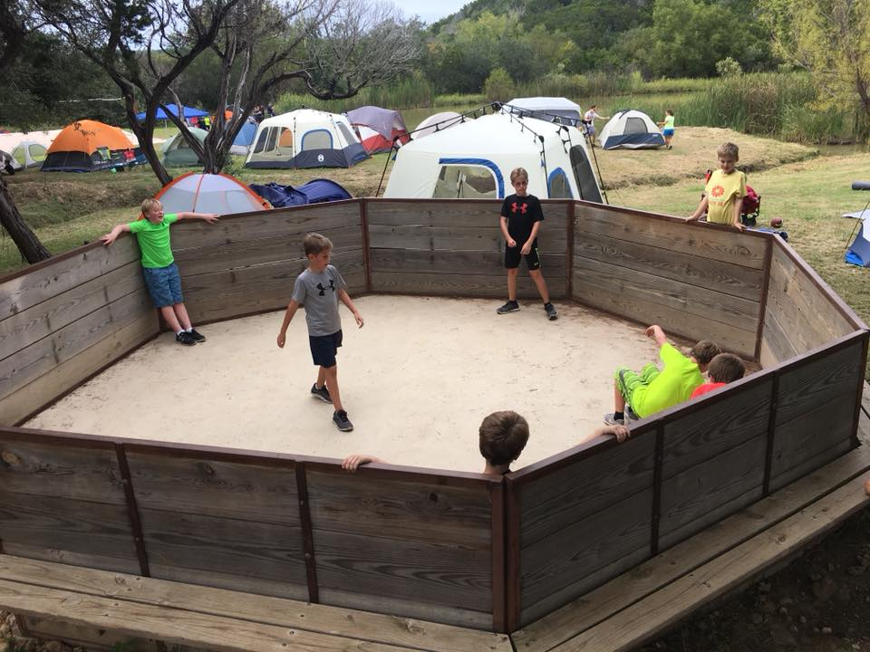 Scouts play GaGa Ball at a fall campout.