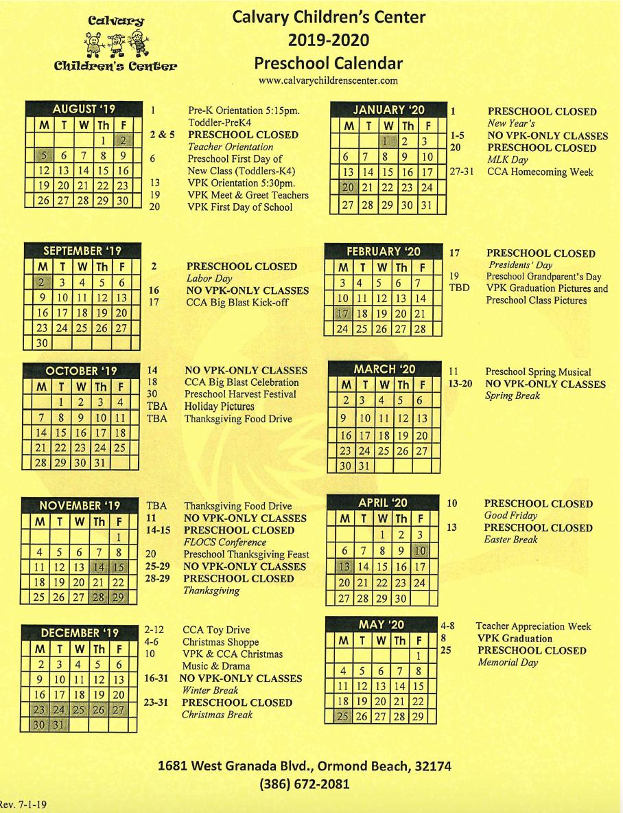 2019-2020 Calendar CCC