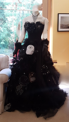 Stoma Bag Dress designed by a Bracken Trust service user to raise awareness about bowel cancer.