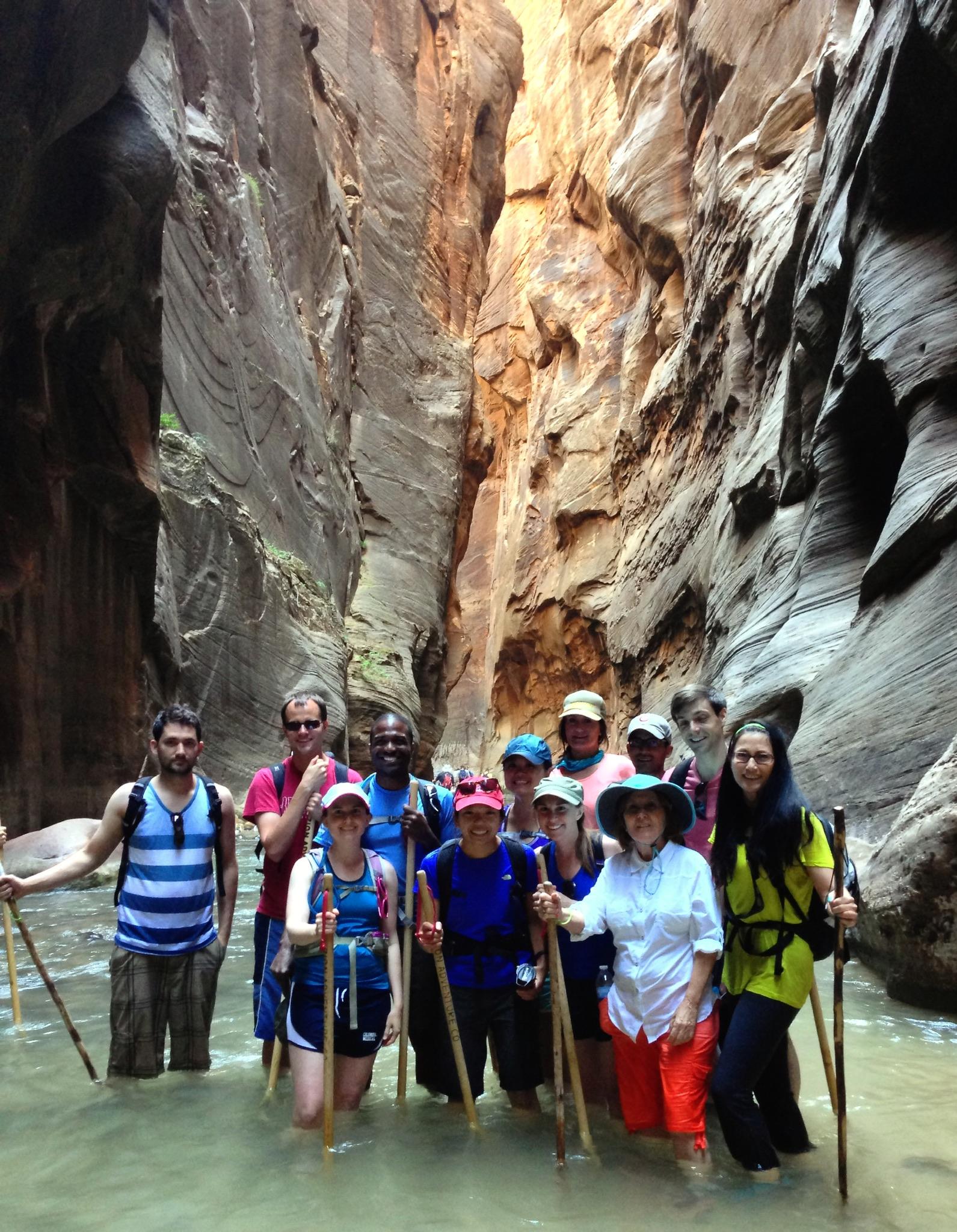Family and friends hike in Utah