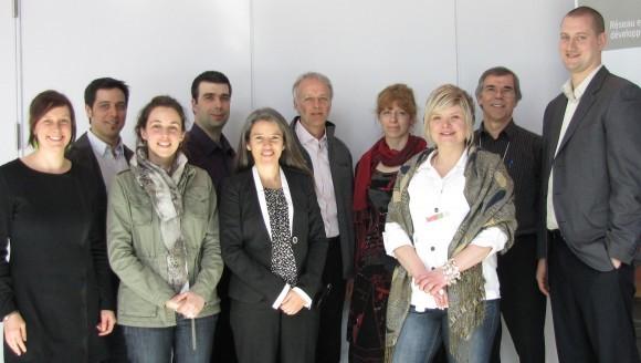 Front row (left to right): Maude Genest-Denis, IGA Cookshire, Marie-Julie Laperrière, Ministère des Finances et de l'Économie, Marie-Hélène Labrie, Enerkem, Marie-Rachel Charlebois, GEOS Spa Sacacomie, Rémy Paré, Les Alouettes de Montréal. Back row (left to right): Alex Favreau, Quartz Nature, Luc Bélair, Insertech, Jean Barbeau, Artopex, Sophie Hénault, Bio-Vert, Yvon Léveillé, JAS Filtration