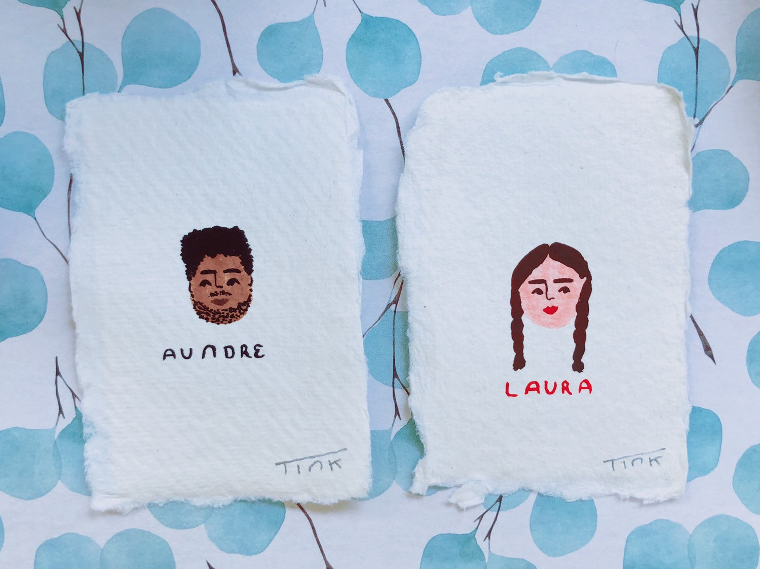 Mini illustrated portraits by Tink